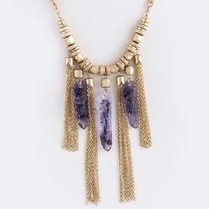 Amethyst stones spears gold tassel necklace new